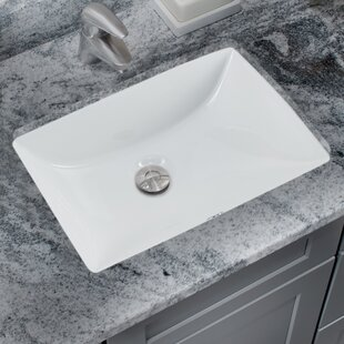 Soleil Glazed Vitreous China Rectangular Undermount Bathroom Sink with Overflow