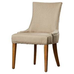 Alpha Centauri Upholstered Side Chair in Linen - Beige with Nickel Nailheads by Brayden Studio