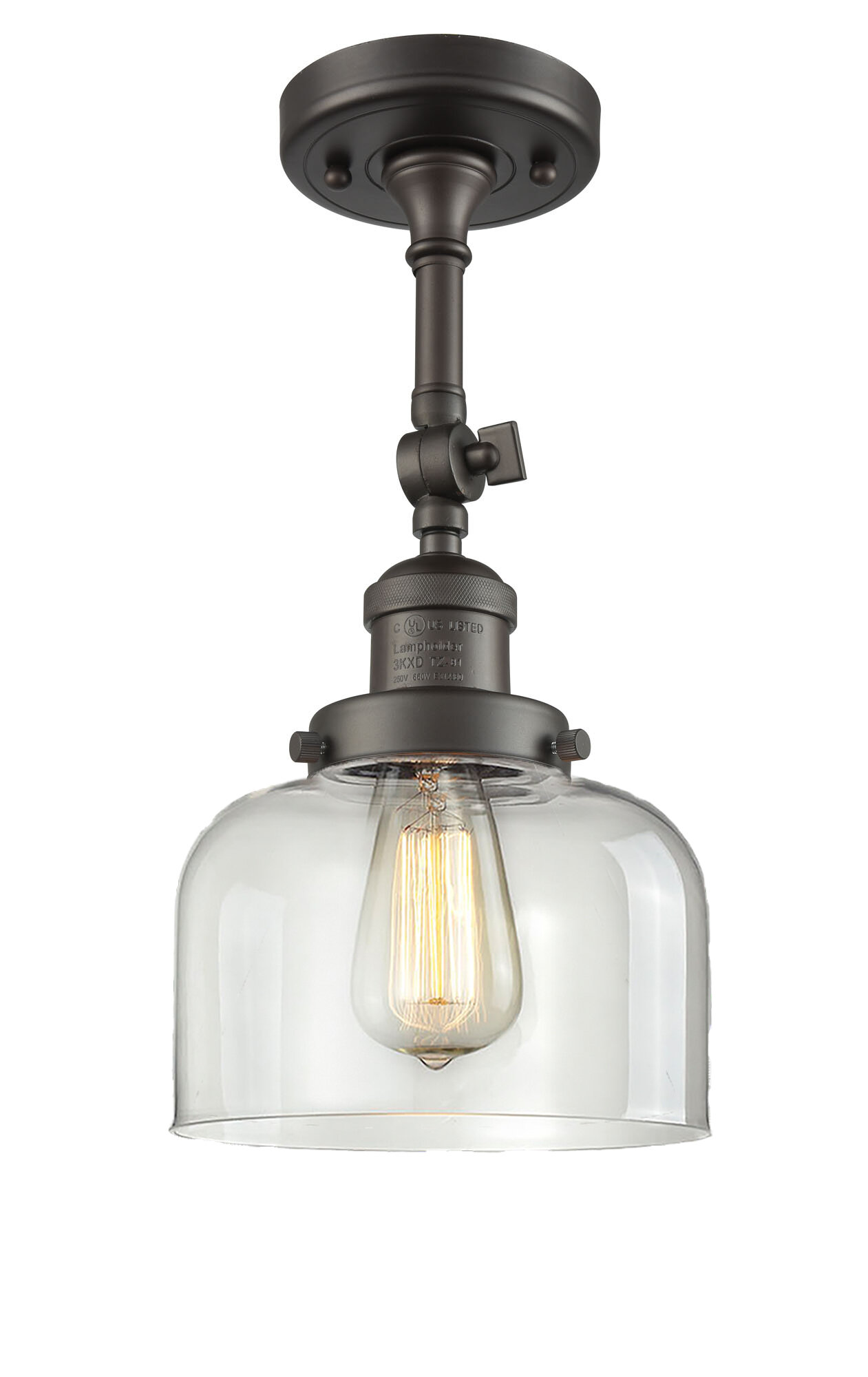 Breakwater bay wynkoop bell glass 1 light semi flush mount reviews wayfair