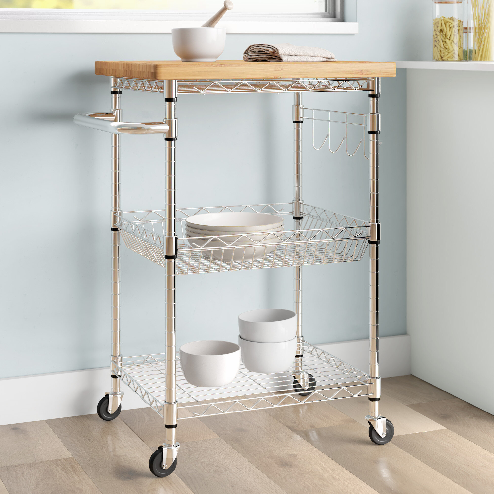 Dotted Line™ Enos 9.9'' Stainless Steel Kitchen Cart with Solid ...