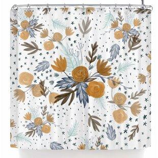 Pellerina Design Indigo Gold Floral Single Shower Curtain