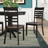 Chiles Ladder Back Side Chair in Black/Mahogany (Set of 2) by Winston Porter