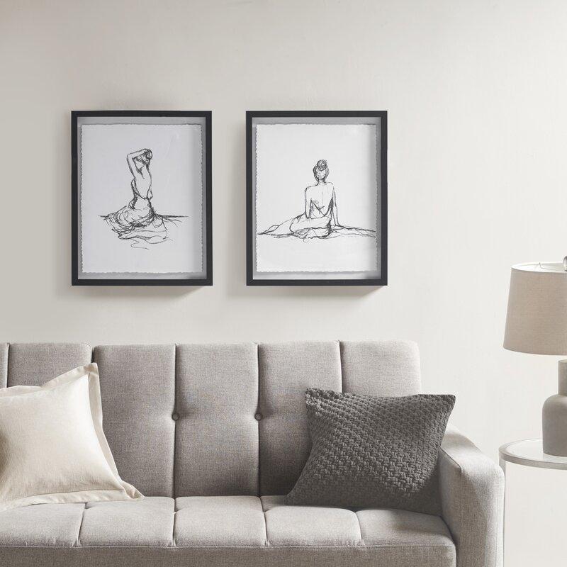 Feminine Figures 2 Piece Picture Frame Graphic Art Print Set On Paper Reviews Joss Main