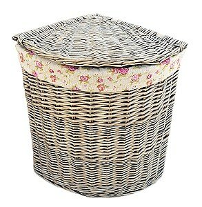 Corner Wicker Laundry Bin With Garden Rose Lining By Lily Manor