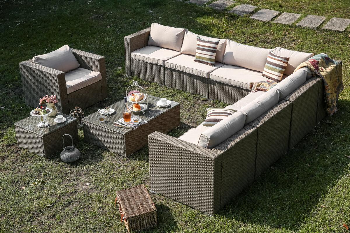 Orren Ellis Wilford 10 Piece Patio Sectional Set With Cushions | Wayfair