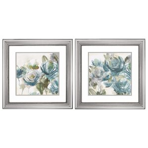 Watercolor Flowers' 2 Piece Framed Painting Print Set
