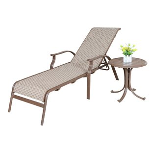 Panama Jack Outdoor Island Breeze Sling Chaise Lounge & End Table