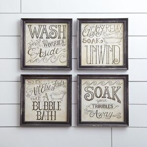 Bath Time Wall Framed Print Set Of 4