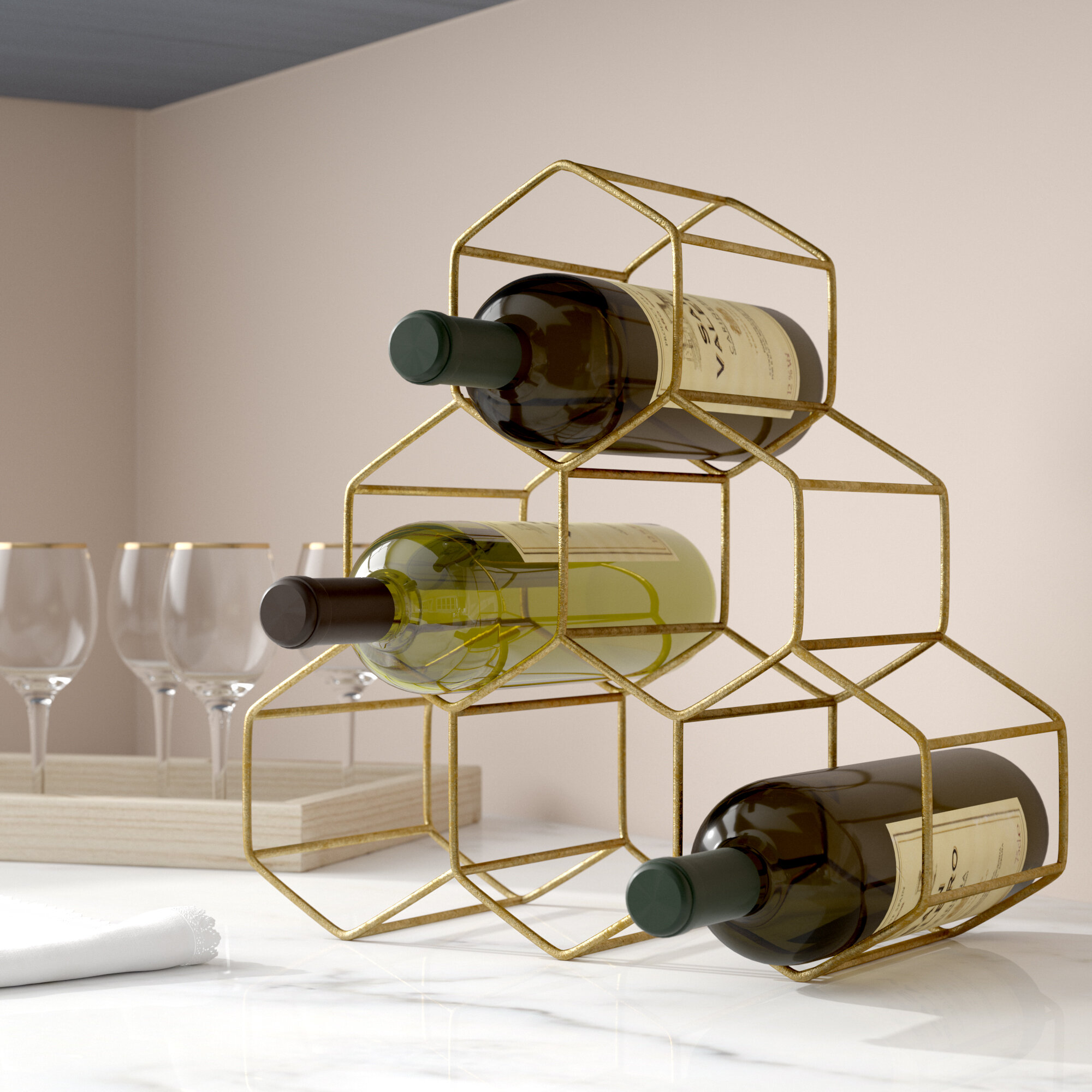Willa Arlo Interiors Stetson 6 Bottle Tabletop Wine Rack Reviews