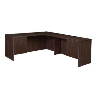 Linh Double Pedestal Credenza Right L-Shape Wood Corner Desk