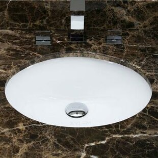 American Imaginations American Imaginations Ceramic Oval Undermount Bathroom Sink with Overflow