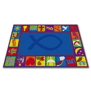 Order Bible Squares Christian School Blue Area Rug By Kid Carpet