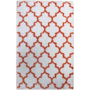 Find a Little White/Orange Area Rug By Rosdorf Park