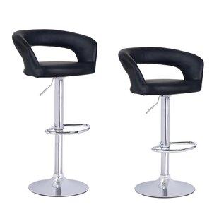 Ebern Designs Hannum Adjustable Height Swivel Bar Stool (Set of 2)