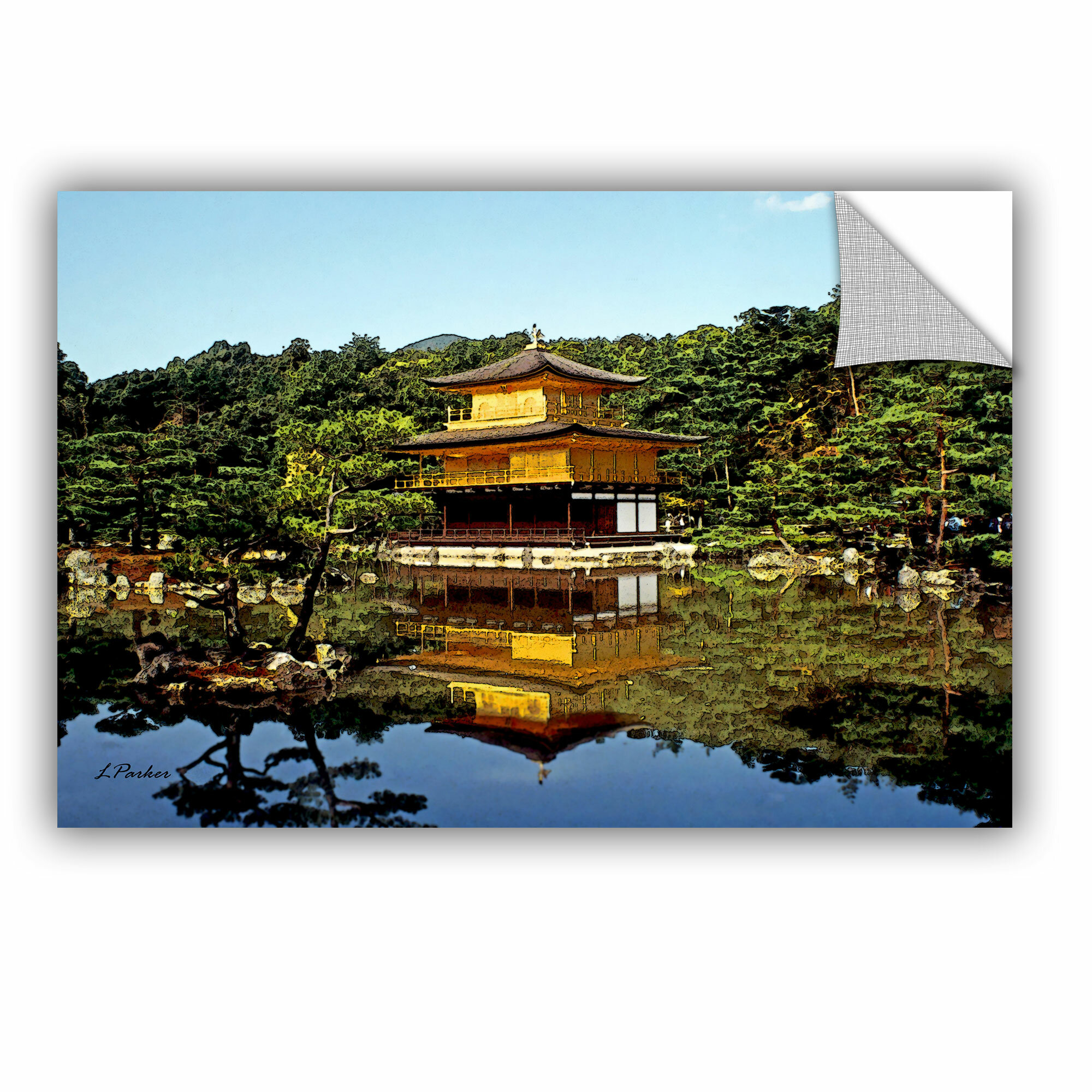 Artwall Kyoto S Golden Pavilion By Linda Parke Removable Wall Decal Wayfair