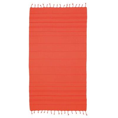 Bay Isle Home Sandspur Pestemal Turkish Cotton Beach Towel Color: Coral