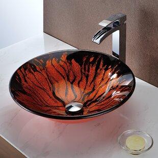 ANZZI Forte Glass Circular Vessel Bathroom Sink