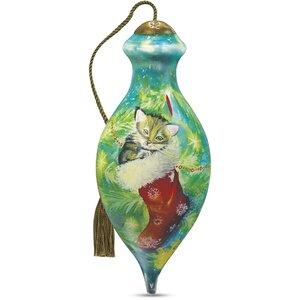 u201cCozy Christmas Kittenu201d Petite Brilliant Shaped Glass Ornament by Sarah Summers