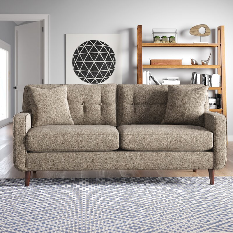 Bungalow Rose Parker Tufted Tweed Sofa