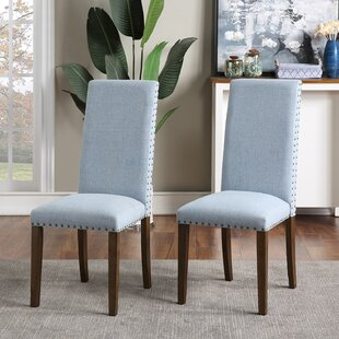 Dalmore Upholstered Dining Chair in Light Blue by Red Barrel Studio