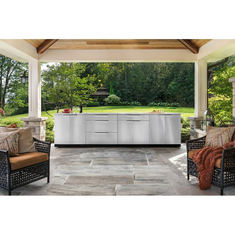 NewAge Products Stainless Steel 6-Piece Free Standing Modular Outdoor Kitchen Cabinets | Wayfair
