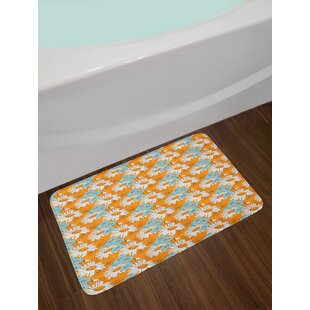 Compare prices Blooming Orange Bath Rug ByEast Urban Home
