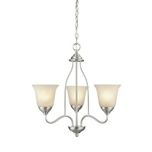 White shabby chic chandelier wayfair clinton 3 light shaded chandelier aloadofball Gallery