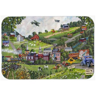 Summer in Small Town USA Glass Cutting Board