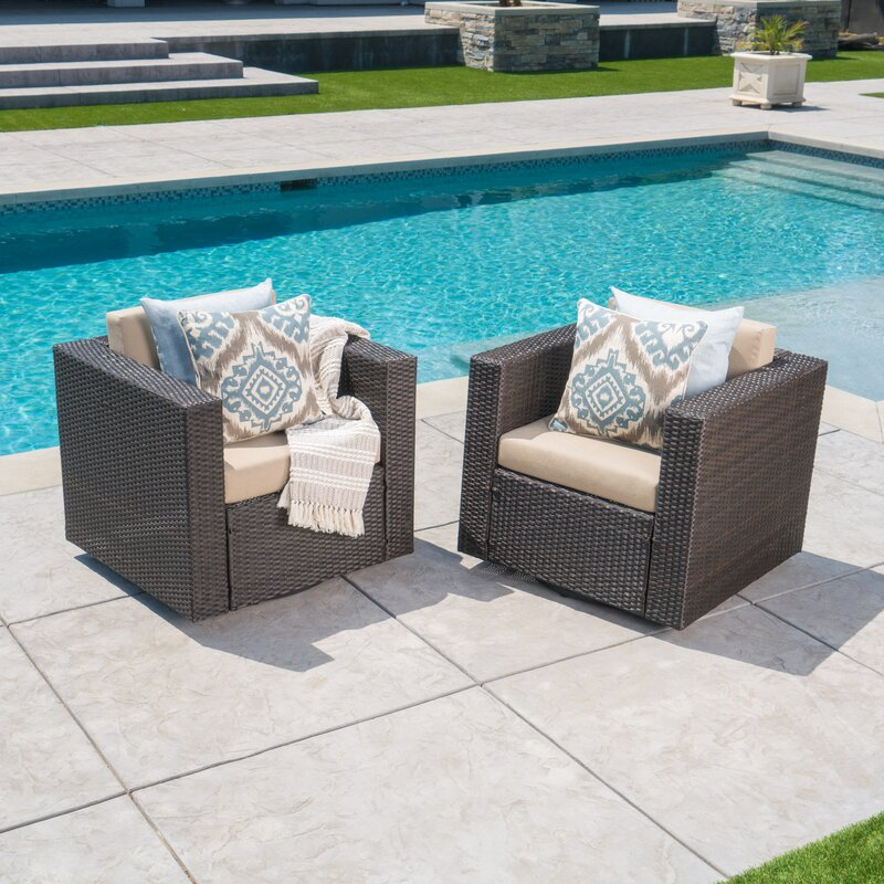 Jemaine Outdoor Wicker Swivel Club Chair With Cushions