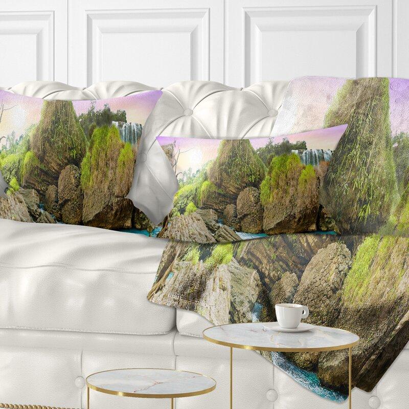 East Urban Home Printed Wild Forest And Waterfall Vietnam Lumbar Pillow Wayfair Ca