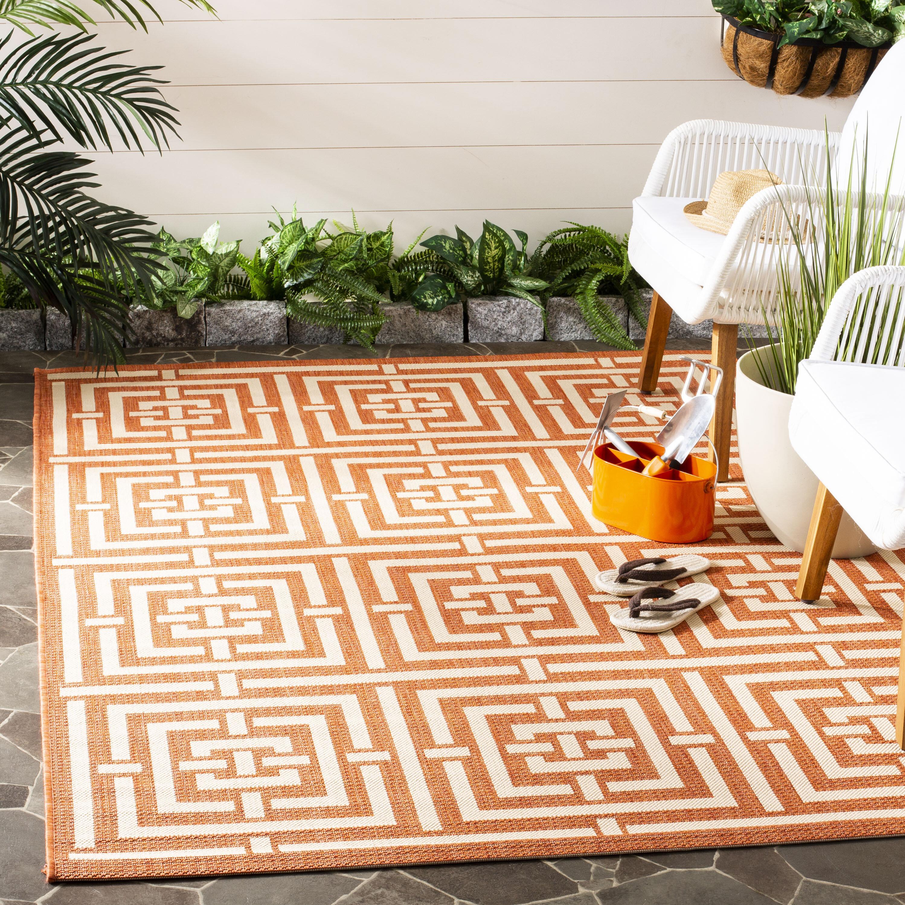 Wrought Studio Sherree Geometric Terracotta Cream Indoor Outdoor Area Rug Reviews Wayfair