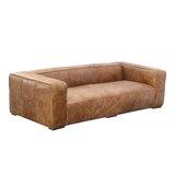 Sherron 101 Wide Genuine Leather Square Arm Sofa by Union Rustic