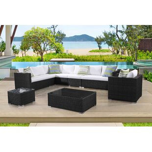 Grena 7 Piece Rattan Sectional Seating Group with Cushions