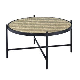 Cheriton Contemporary Faux Alligator Leather Skin Living Room Coffee Table by Brayden Studio