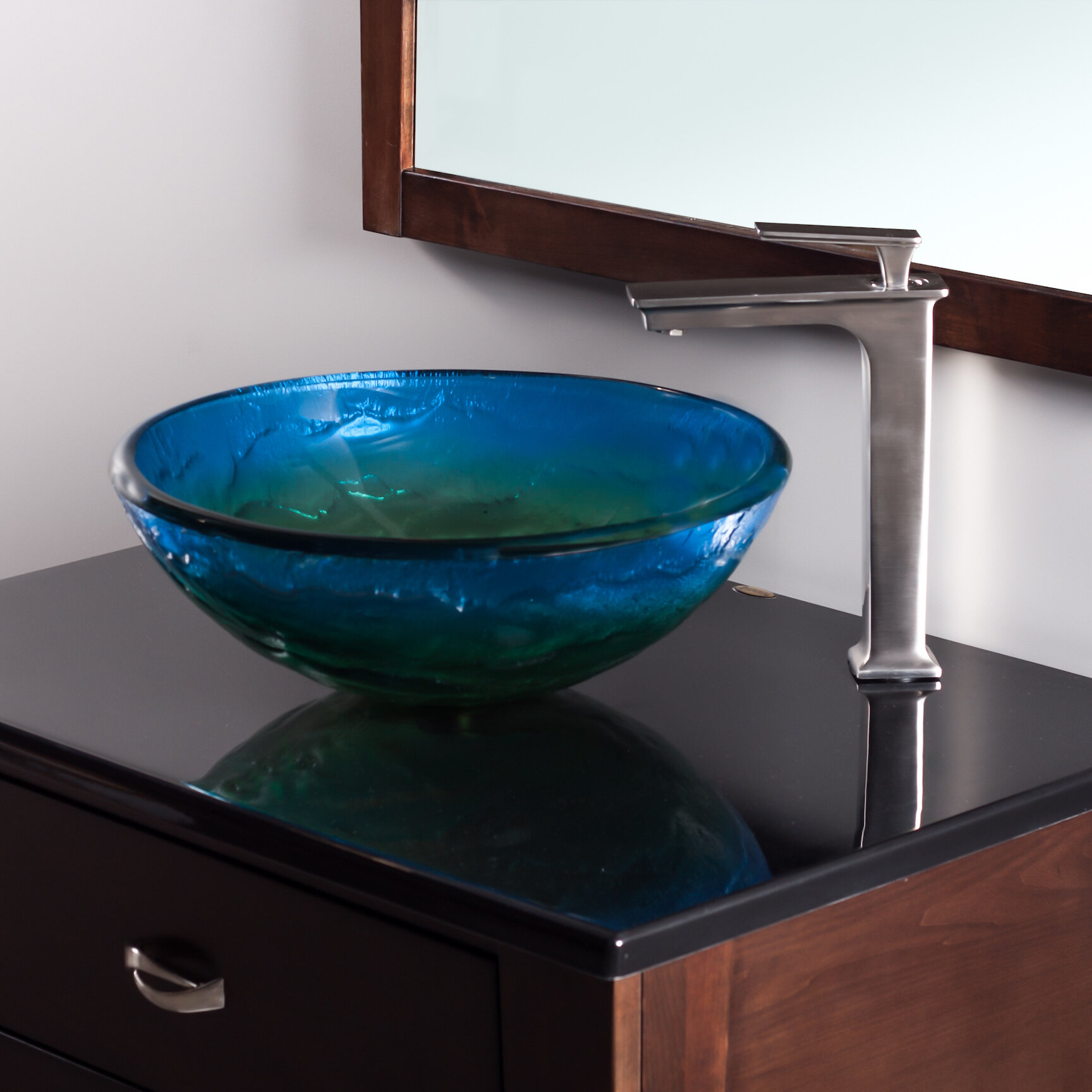 Novatto Mare Glass Circular Vessel Bathroom Sink & Reviews | Wayfair