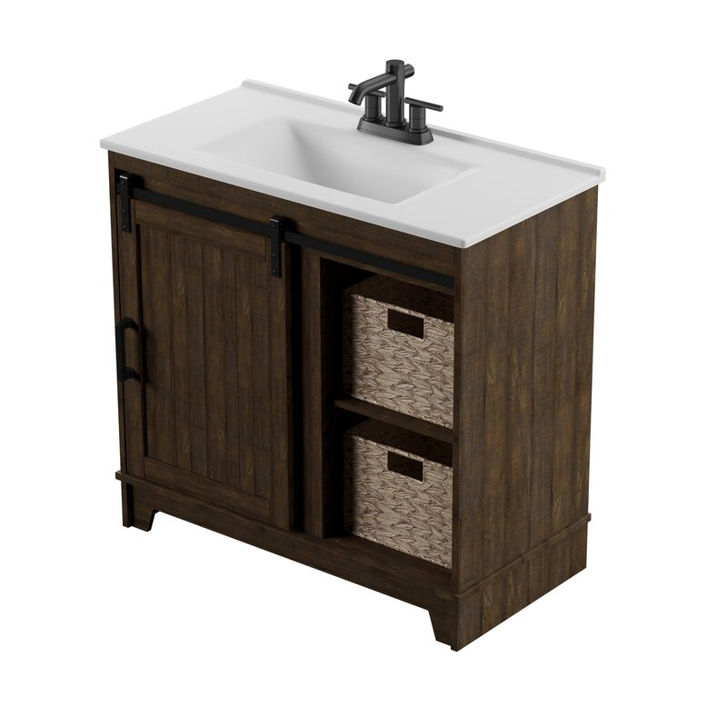 Gracie Oaks Trogdon Sliding Barn Door 36 Single Bathroom Vanity Set Reviews Wayfair
