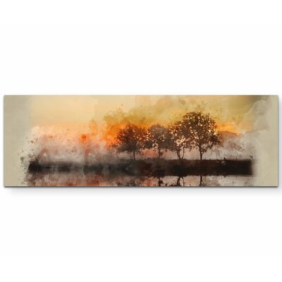 Leinwandbild Aquarellbild Herbstlandschaft   Dekoration > Bilder und Rahmen > Bilder   Bedruckt   East Urban Home