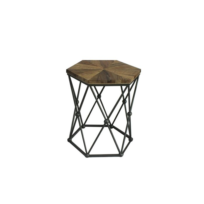 Xander Hexagon Wood And Metal 3 Piece Nesting Tables