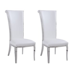 Mukesh Rolled Back Upholstered Dining Chair (Set of 2) Everly Quinn