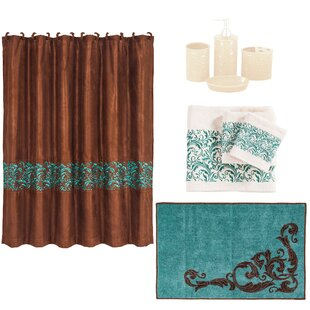 Wyatt 21 Piece Shower Curtain Set by East Urban Home Best #1