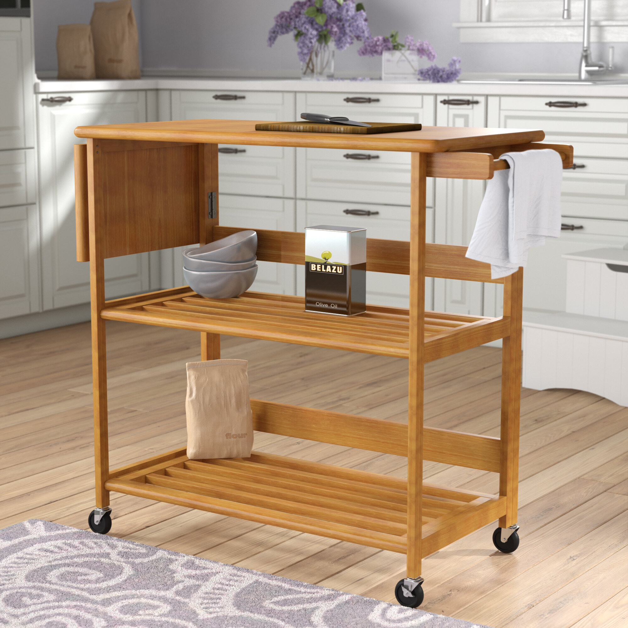 Andover Mills™ Quiroga Kitchen Island with Wood Top & Reviews