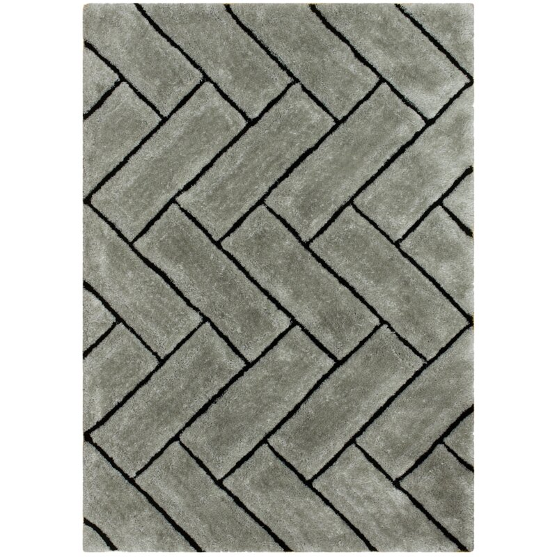 Union Rustic Stansel Geometric Shag Gray Area Rug Wayfair