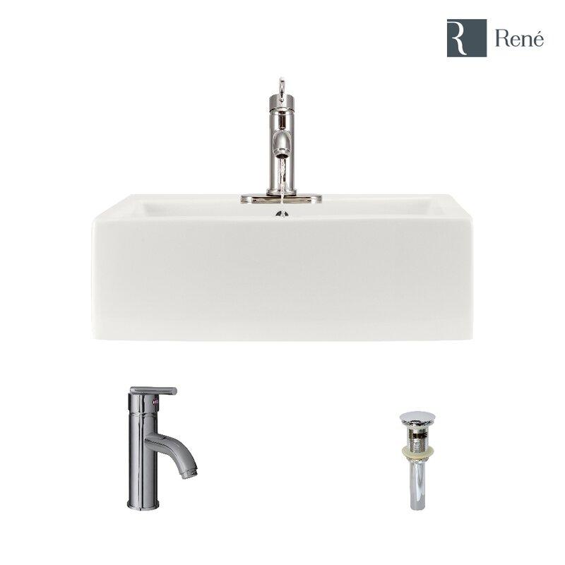 René Vitreous China Rectangular Vessel Bathroom Sink With Faucet And Overflow Wayfair