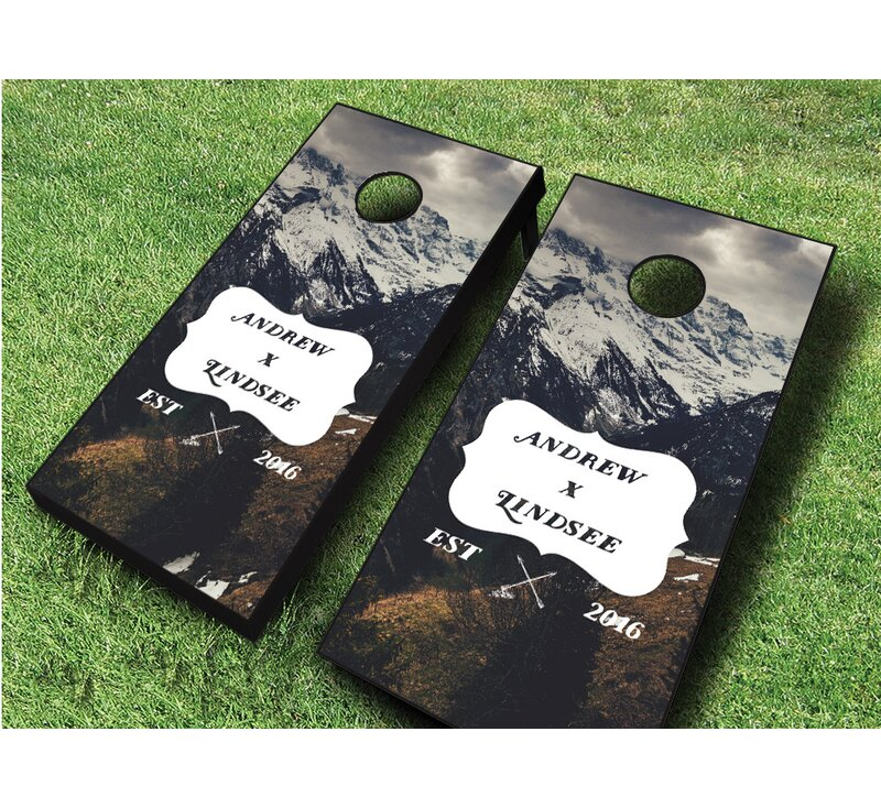 2' x 4' Wedding Mountains Solid Wood Cornhole Board