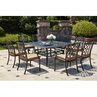 Waconia Traditional 9 Piece Metal Frame Dining Set with Cushions