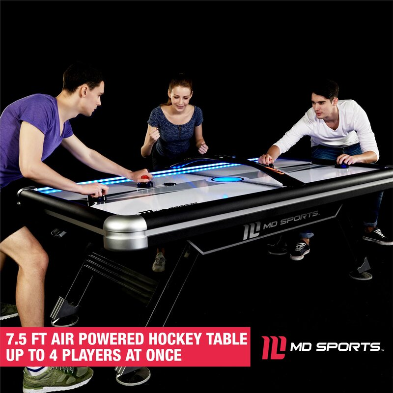 Awesome Titan 7 5 Four Player Air Hockey Table With Digital Scoreboard And Lights Interior Design Ideas Tzicisoteloinfo