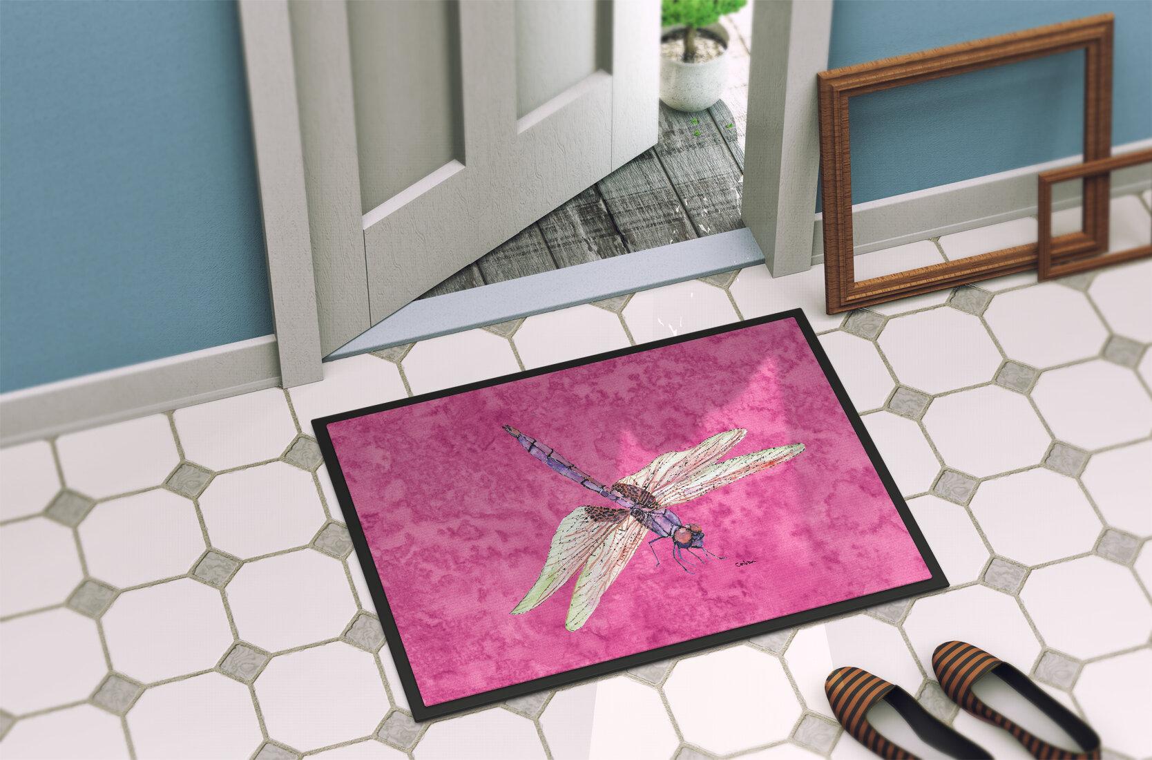 Watercolor Dragonflies for Kids Bathroom Rug Non-Slip Floor Indoor Door Mat