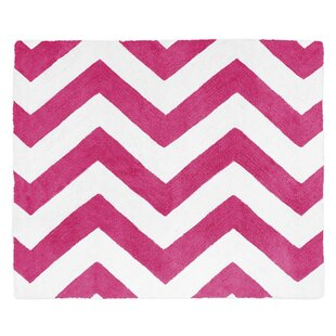 Chevron Hot Pink White Area Rug