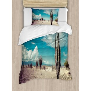 Cactus Abandoned Desert with Dried Flowers on a Sunny Hot Day Photo Image Duvet Set by Ambesonne