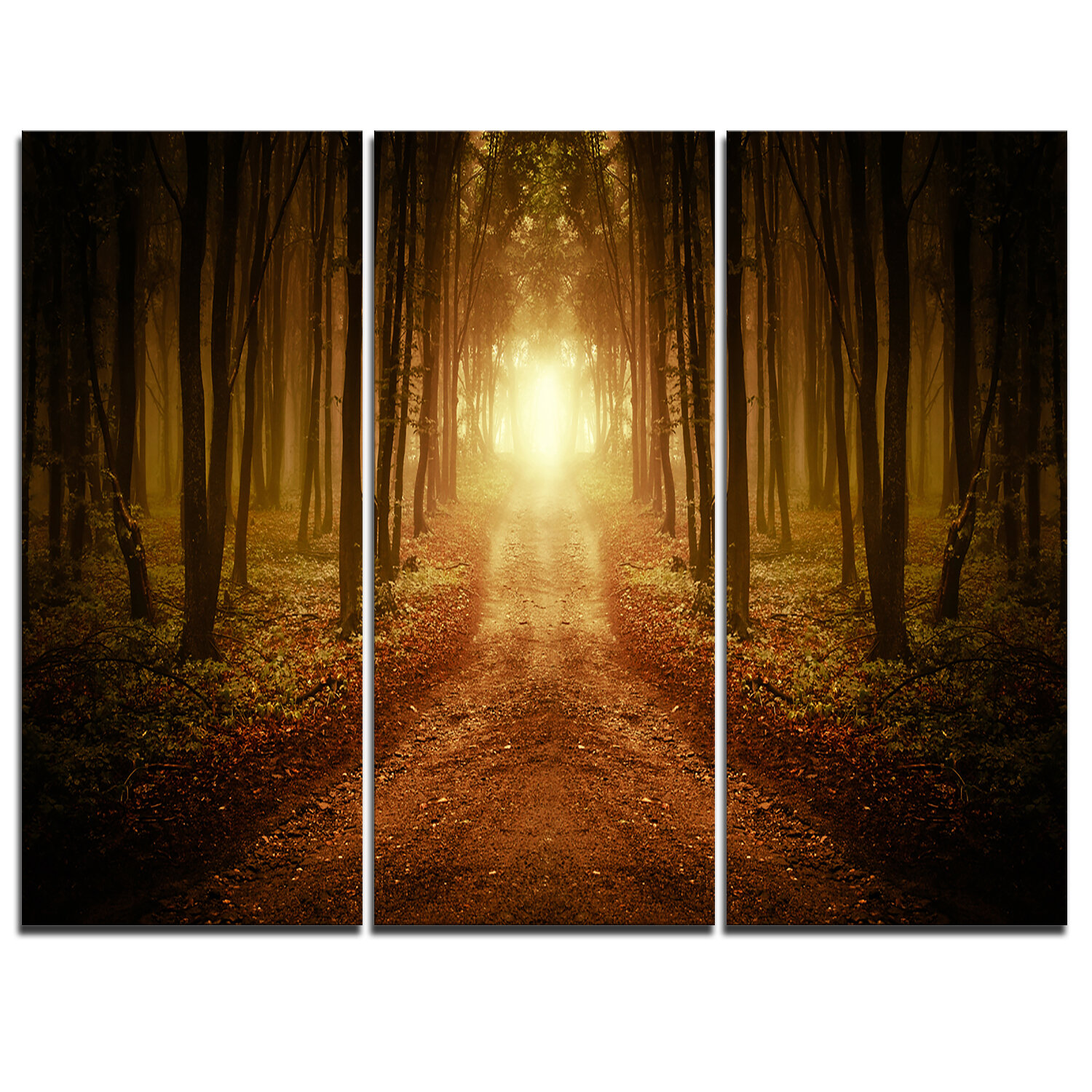 Designart Road In Symmetrical Forest 3 Piece Graphic Art On Wrapped Canvas Set Wayfair